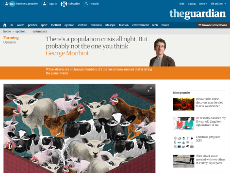 Guardian article on population and farming