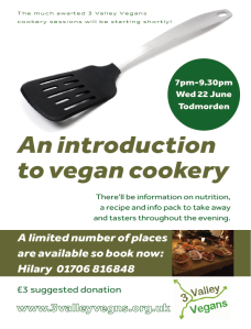 An introduction to vegan cooking, 22 June 2016