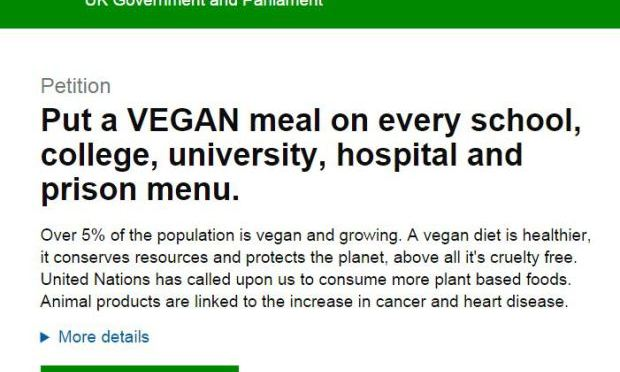 PETITION: Put a VEGAN meal on every school, college, university, hospital and prison menu.