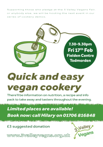 "Cookery demo ""Quick and Easy vegan cookery"""