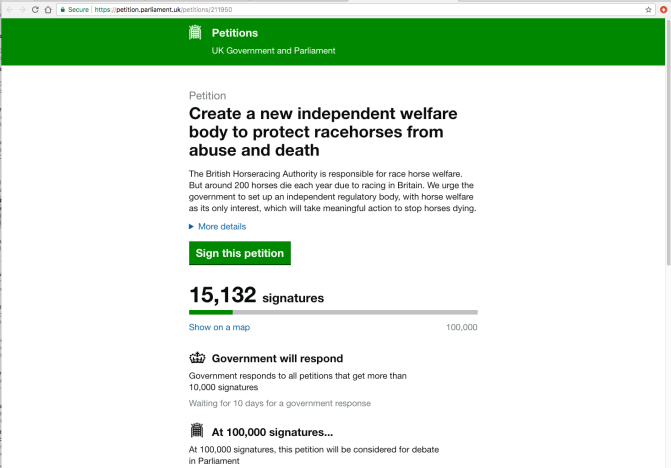 Petition: Create a new independent welfare body to protect racehorses from abuse and death