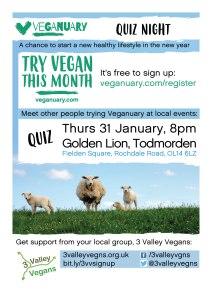 Veganuary quiz night poster