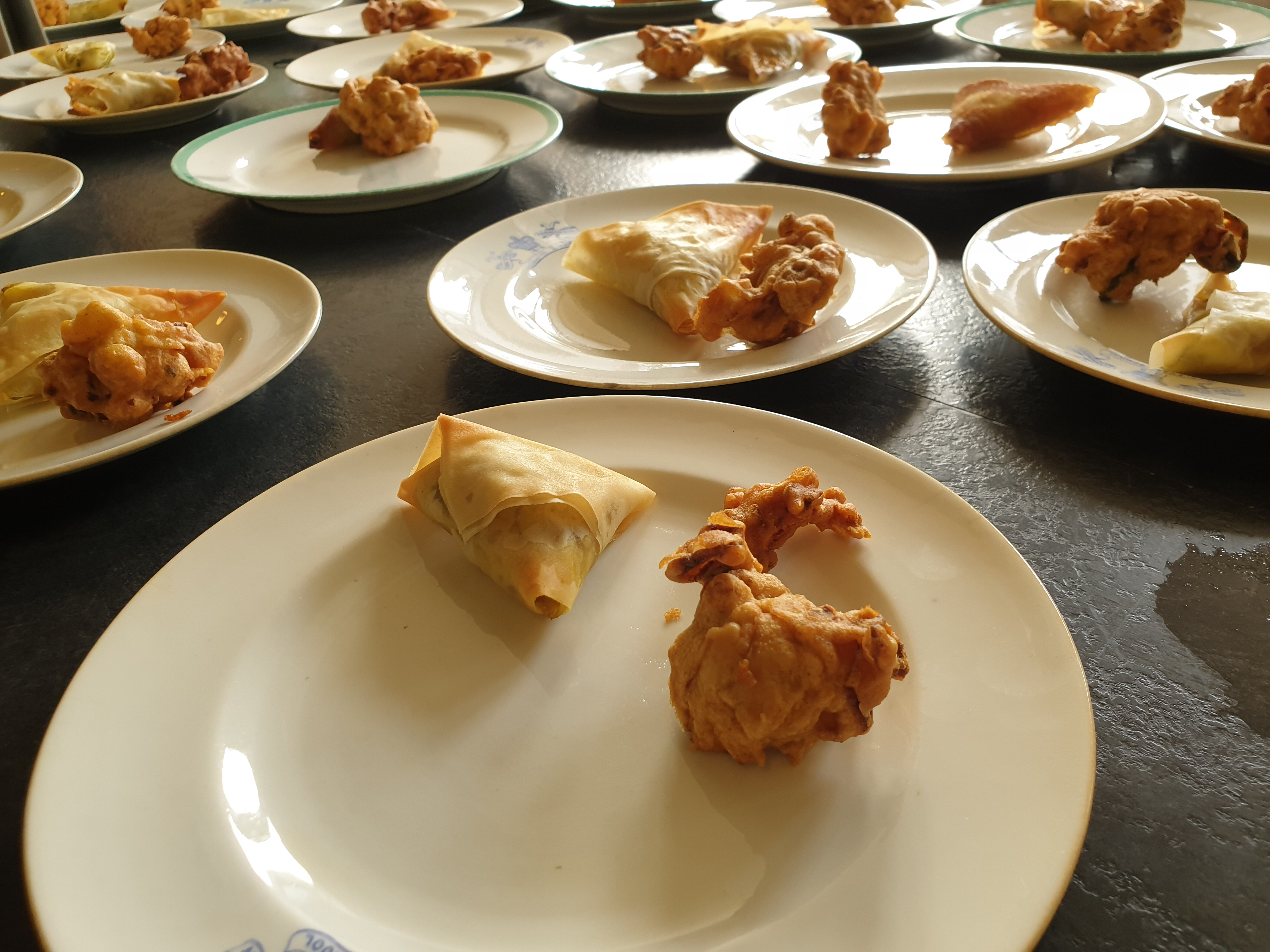 Samosas and bhajis at our World Cookery Demo, June 2019