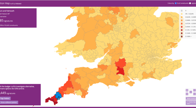 badger petition map of signatures, most are in Cornwall