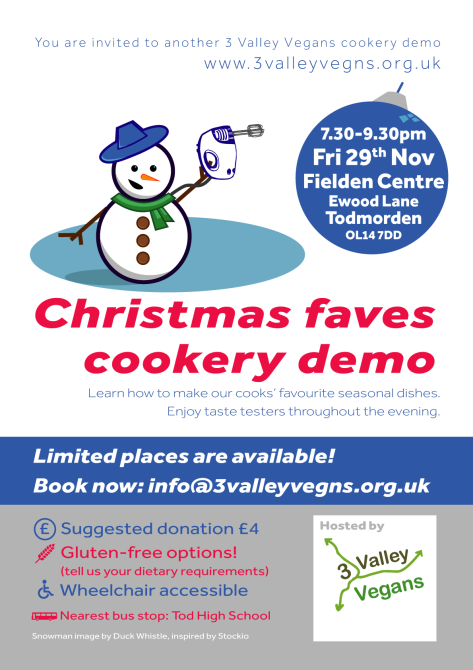 Christmas cookery demo poster 2019